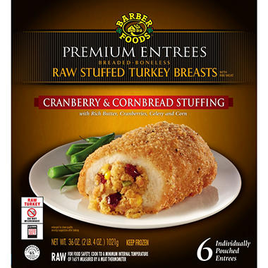 Barber Foods Cranberry and Cornbread Stuffed Turkey Breast, Uncooked (6 ct.)