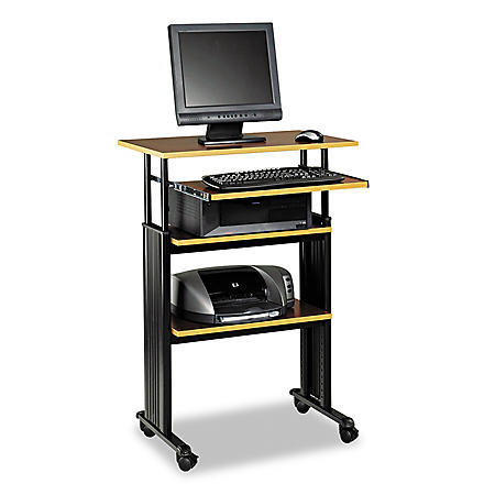 Safco High Adjustable Height Stand-Up Workstation, Cherry/Black