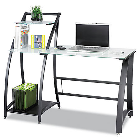 """Safco 53"""" Xpressions Computer Workstation, Frosted/Black"""