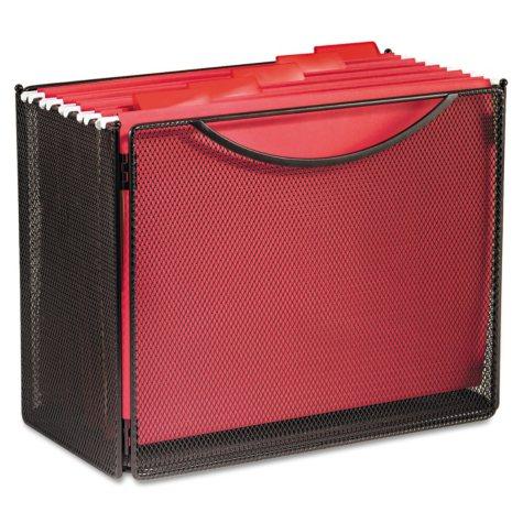 "Safco 7"" Deep Onyx Desktop Steel Mesh File Storage Box, Black"