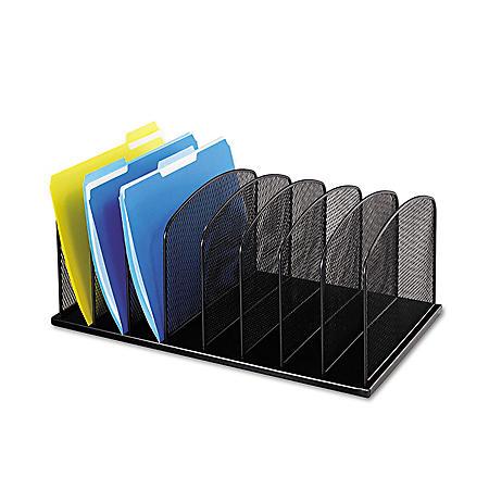 Safco 8-Section Horizontal Mesh Desk Organizers, Black