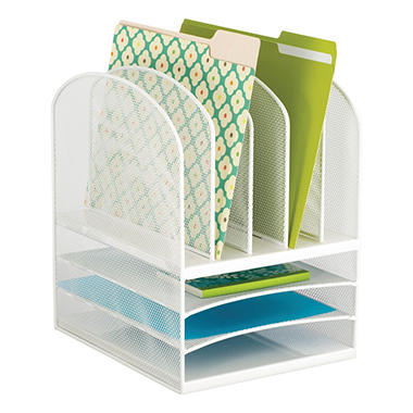 Safco Onyx Mesh Desk Organizer 3 Horizontal And 5 Vertical Sections White