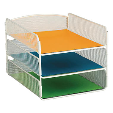 Safco 3-Tier Desk Tray, Steel Mesh, Letter, White