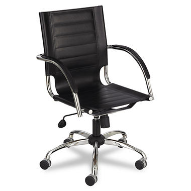 Safco Flaunt Series Mid-Back Manager's Leather Chair, Select Color