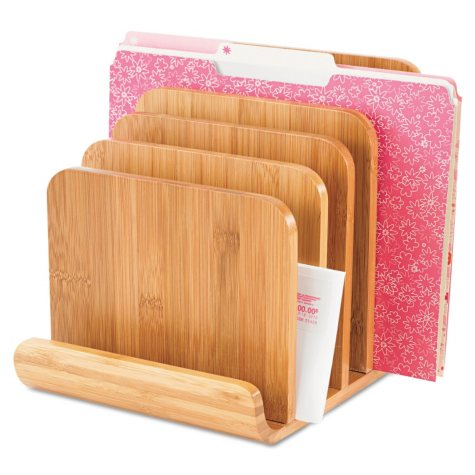 """Safco Bamboo Wood Organizer - Five Sections - 8"""" x 10"""" x 9"""" - Natural"""