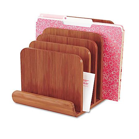 """Safco Bamboo Wood Organizer - Five Sections - 8"""" x 10"""" x 9"""" - Cherry"""