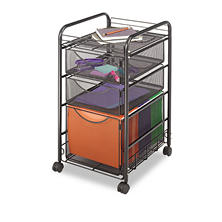 Safco Onyx 2-Drawer Mesh Mobile File Cart, Black