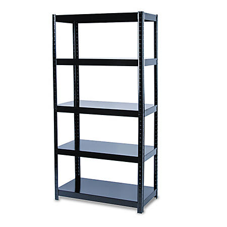 Safco - Boltless Steel Shelving, 5 Shelves, 36w x 18d x 72h - Black
