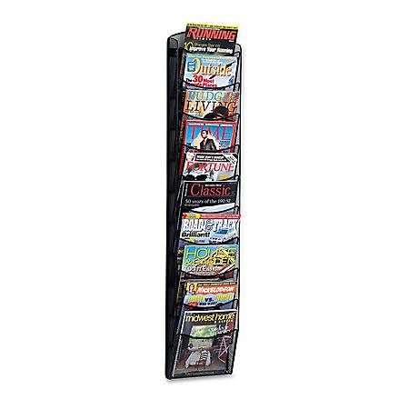 Safco 10-Pocket Mesh Magazine Rack, Black