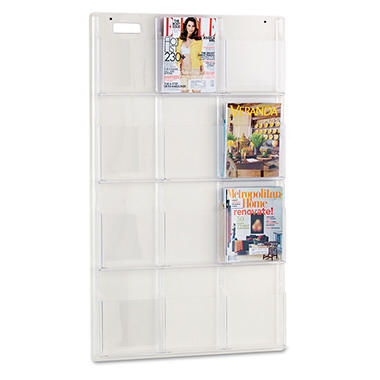 Safco Reveal Clear 12-Pocket Magazine Display