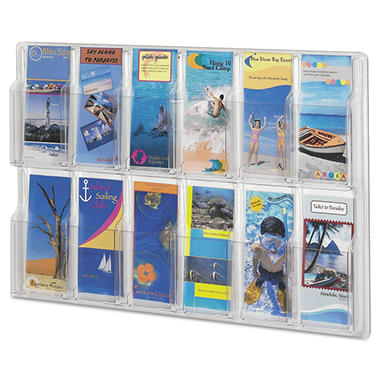 Safco Reveal Clear 12-Pocket Brochure Display