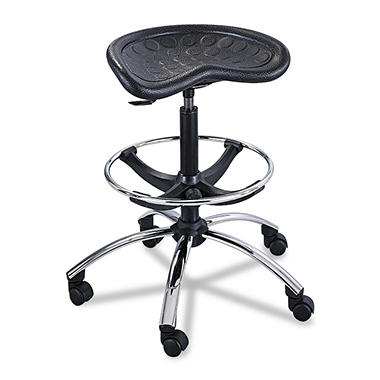 Safco Sit-Star Stool with Foot-ring, Black/Chrome