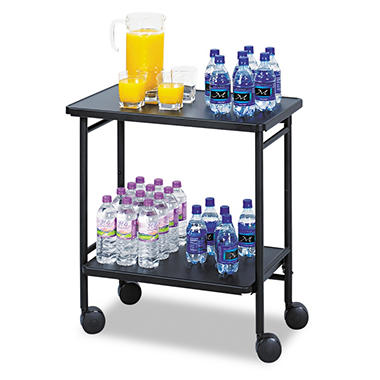 Safco® Fold-Away 2-Shelf Beverage Cart, Black