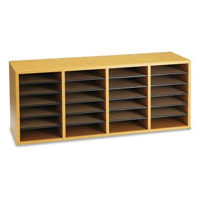 Safco 24-Shelf Adjustable Literature Organizer Medium Oak  sc 1 st  Samu0027s Club & Mailroom u0026 Literature Organizers - Samu0027s Club