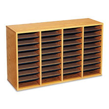 Safco 36-Compartment Adjustable Literature Organizer, Medium Oak