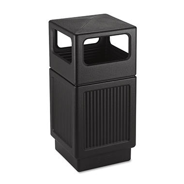 Safco Canmeleon Square Side-Open Receptacle, Black (38 gal)