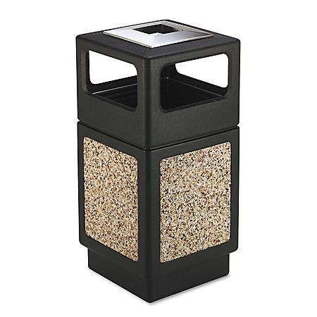 Safco Canmeleon Square Ash/Trash Receptacle, Aggregate/Black (38 gal)