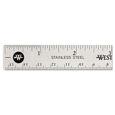Westcott Stainless Steel Office Ruler With Non Slip Cork Base, 6