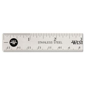 Westcott Stainless Steel Office Ruler With Non Slip Cork Base, 6""
