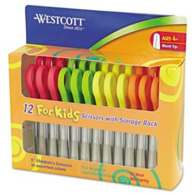 "Westcott Kids Scissors, 5"" Blunt, Assorted, 12/Pack"