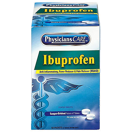 PhysiciansCare Ibuprofen Pain Reliever Medication, 200mg  (2 tablets each, 50 pk.)