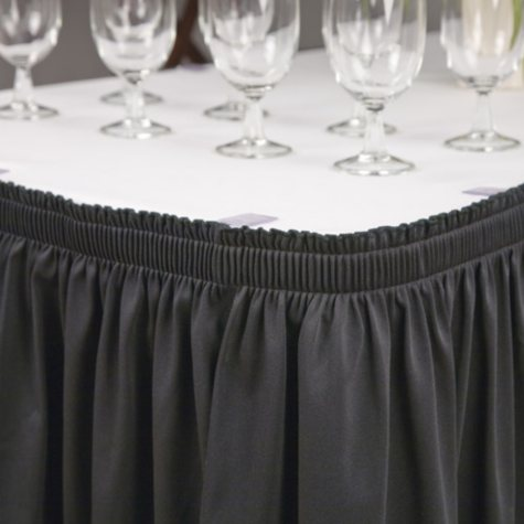 """Riegel Polyester Shirred Skirting - 30"""" x 96"""" x 29"""" - Black or White"""