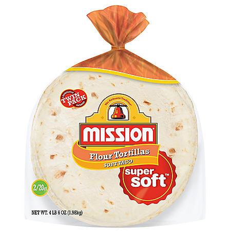 Mission Medium Flour Soft Taco Tortillas (20 ct., 2 pk.)