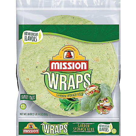 Mission Garden Spinach Herb Wraps (12 ct.)