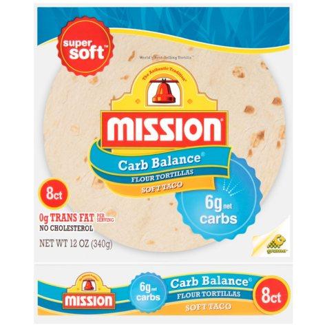 Mission Carb Balance Soft Taco Flour Tortillas (8 ct., 12 oz.)