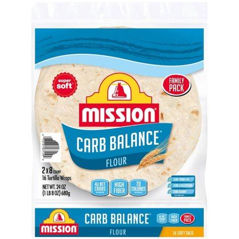 Mission Carb Balance Soft Taco Flour Tortillas (16 ct., 54 oz.)