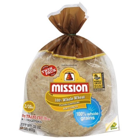 """Mission 8"""" Soft Taco Whole Wheat Flour Tortillas, Twin Pack (10 ct., 2 pk.)"""