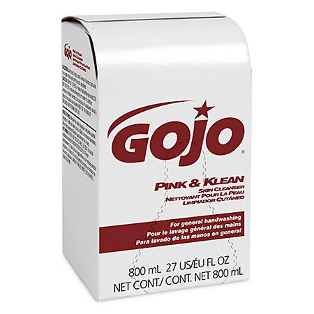 (Pack of 12) GOJO Pink & Klean Skin Cleanser Industrial Hand Soap Refill, Floral Scent, 800mL Refill for GOJO 800 Series Bag-in-Box Dispense- 9128-12