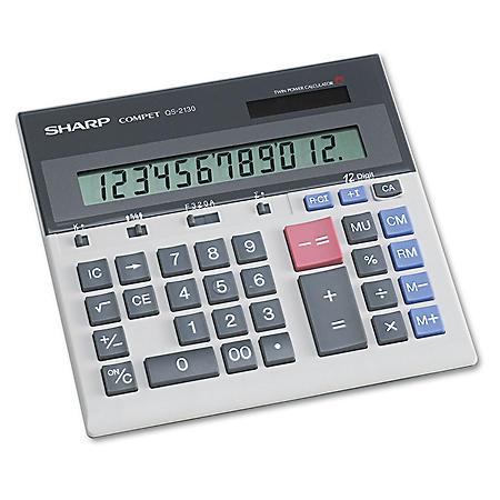 Sharp QS-2130 Compact Desktop Calculator, 12-Digit LCD