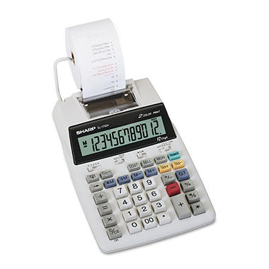 Sharp - EL1750V LCD Two-Color Printing Calculator, 12-Digit LCD - Black/Red