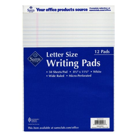 Sam's Club Letter Size Writing Pads - White - 12 Pack