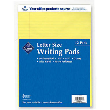 Sam's Club Letter Size Writing Pads - Yellow - 12 Pack