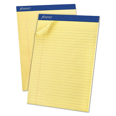 Ampad - Evidence Perf Top, Legal Rule, Letter, Canary, 50-Sheet Pads/Pack - Dozen
