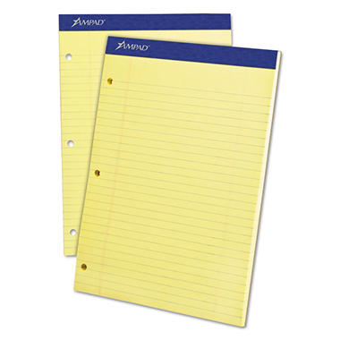 Ampad Evidence Dual Ruled Pad -  Legal/Wide Rule -  8 1/2
