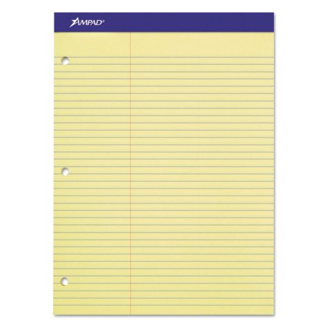 "Ampad Evidence Dual Ruled Pad -  Law Rule -  8 1/2"" x 11 3/4""  -  Canary - 100 Sheets"