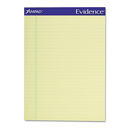 Ampad - Writing Pad - Legal/Wide Rule - Letter - Canary - 50-Sheets - Perfed - Dozen