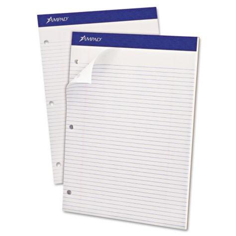 "Ampad Evidence Dual Narrow/Margin Ruled Pad -  8 1/2"" x 11 3/4""  -  White - 100 Sheets"