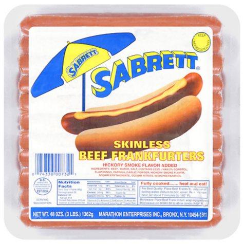 Sabrett Natural Casing Beef Frankfurters (48 oz.)
