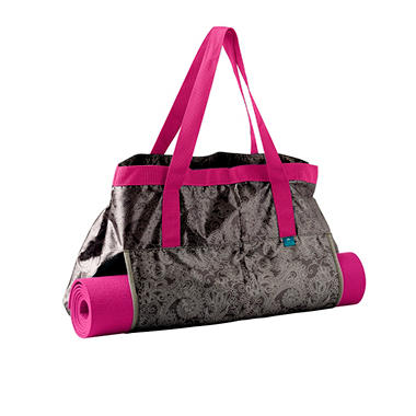 Lotus Yoga Tote and Mat, Gray and Pink