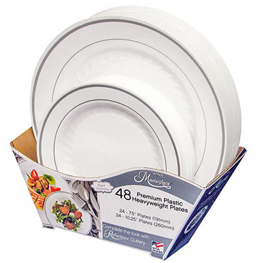 Masterpiece Premium Plastic Heavyweight Plates Combo Pack (48 ct.)  sc 1 st  Samu0027s Club : hard plastic plates for weddings - pezcame.com