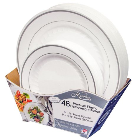 Masterpiece Premium Plastic Heavyweight Plates, Combo Pack (48 ct.)