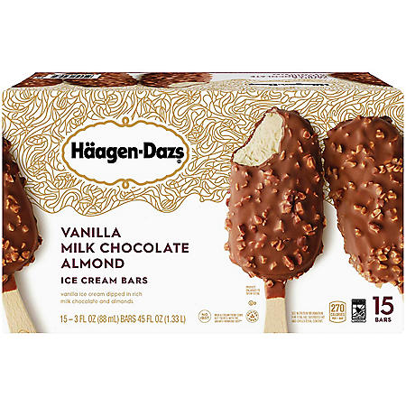 Haagen-Dazs Vanilla Milk Chocolate Almond Ice Cream Bars (15 ct.)