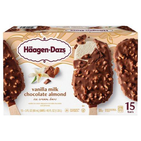 Haagen-Dazs Vanilla Milk Chocolate Almond Ice Cream Bars (15 ct.)