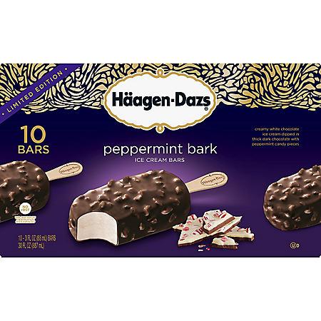 Haagen Dazs Limited Edition Peppermint Bark Ice Cream Bars (10 ct.)