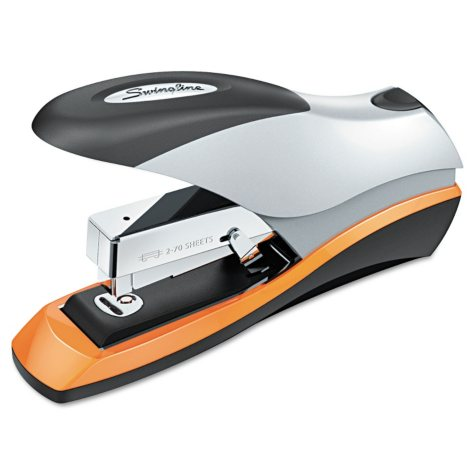 Swingline - Optima Desktop Staplers, Half Strip, 70-Sheet Capacity -  Silver/Black/Orange