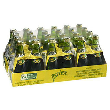Perrier Sparkling Natural Mineral Water, Lemon (11.15 oz. bottles, 24 pk.)